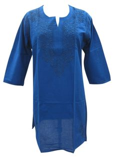 Summer Cotton Tunic Top Blue Casual Kurti Paisley Embroidered Design