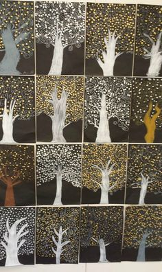 Metallic Klimt trees - winter trees for seasons unit