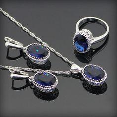 Round Blue Sapphire 925 Sterling Silver Jewelry Sets For Women 925 Sliver Necklace Pendant Earrings Rings Size 6 7 8 9 Free Box www.bernysjewels.com #bernysjewels #jewels #jewelry #nice #bags