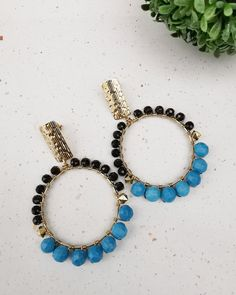 Turquoise Hoop  Earrings. FREE SHIPPING Teardrop Earrings, Hoop Earrings, Handmade Wire, Black Spinel, Wire Wrapped Earrings, Turquoise Beads, Blue Crystals, Jewelery, Beaded Bracelets
