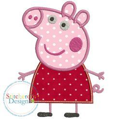 Peppa Pig applique embroidery design by Stitcheroo Designs