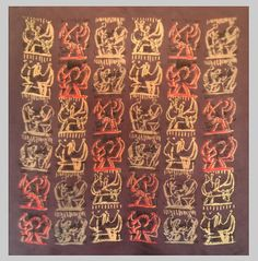 Henry Moore (1898-1986) | Modernist textile, Silk Artist square entitled Family Group, Origanal designs, 1944 | First Printed by Ascher 1945 | Esther Fitzgerald Rare Textiles