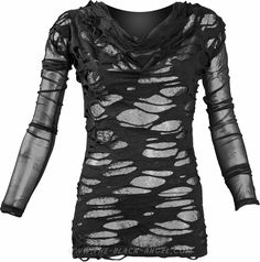 Gothic mesh shirt for women with sheer holes, by Queen of Darkness.