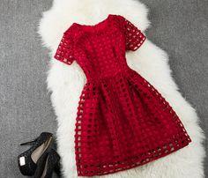 Fashion Round Neck Short Sleeve Dress