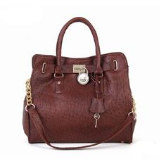 Michael Kors Ostrich-Embossed Large Coffee Tote