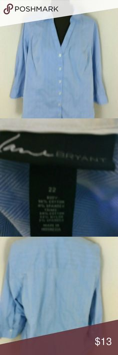 Lane Bryant Collared 3/4 Sleeve Button Down Blue and white printed Lane Bryant Tops Button Down Shirts