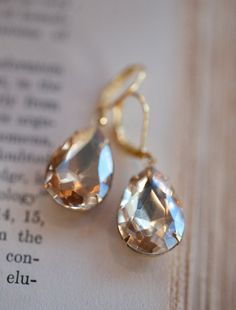Champagne Gold Estate Style Vintage Earrings by NotOneSparrow, $22.00