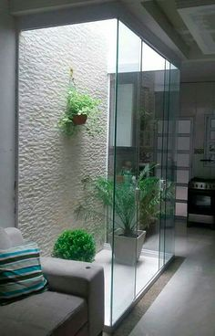 Indoor Garden Office and Office Plants Design Ideas For Summer 13 - Modern Home Room Design, Home Garden Design, Interior Garden, Home Interior Design, Interior And Exterior, Indoor Courtyard, Internal Courtyard, Indoor Garden, Inside Garden