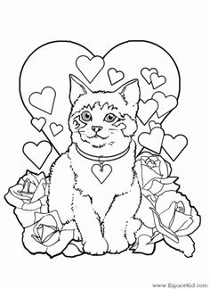 a Free Kids Coloring Pages, Puppy Coloring Pages, Heart Coloring Pages, Cat Coloring Page, Disney Coloring Pages, Colouring Pages, Coloring Books, Coloring Sheets, Mandala Coloring