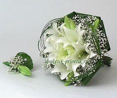 Букет невесты из лилий и гипсофилы