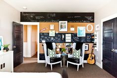 design dump: one room challenge REVEAL: teen bedroom with striped cork + chalkboard wall