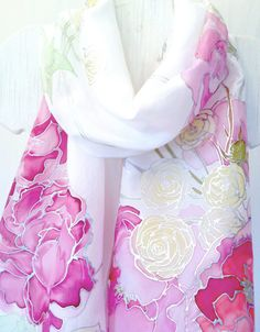 Hand Painted Silk Shawl Pink Spring Bouquet Wedding Silk