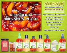 Cranberry Orange & Peach Product Collection - Delicious cranberries and juicy orange slices blend with Georgia peaches for a mouth-watering splash of sweetness. #OverSoyed #CranberryOrangePeach #Cranberry #Orange #Peach #MixedFruits #MixedFruit #Fruity #Fruit #Candles #HomeFragrance #BathandBody #Beauty
