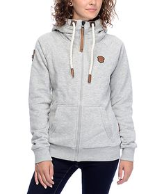 Naketano is known for bringing a modern new construction to super comfortable, thick hoodies and zip ups. The heather grey colorway features faux leather brand patches and details throughout for a signature Naketano look. The thick fleece lining keeps you