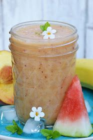 Koktajl brzoskwiniowo - bananowy z arbuzem Shake, Smoothie Recipes, Cantaloupe, Pudding, Fruit, Food, Watermelon, Peaches, Rezepte