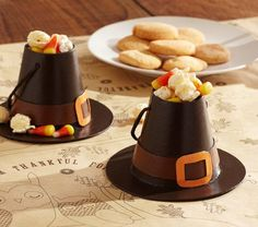 Pilgrim Hat Paper Mache Treat Container Set | Pottery Barn Kids