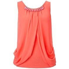 Lipsy Sleeveless Embellished Drape Top ($24) ❤ liked on Polyvore featuring tops, shirts, tank tops, blouses, blusas, coral, sleeveless tank tops, red sleeveless shirt, red shirt and embellished tank