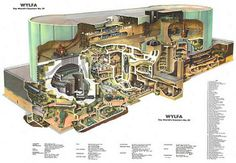 Curious about the history of nuclear reactors after all the attention they've received in the news? Take a peek at the history of reactors with these gorgeous cutaway drawings of vintage nuclear power plants. Nuclear Energy, Nuclear Power, Architecture Visualization, Architecture Drawings, Architecture Mapping, Chinese Architecture, Autocad, Nuclear Engineering, Section Drawing