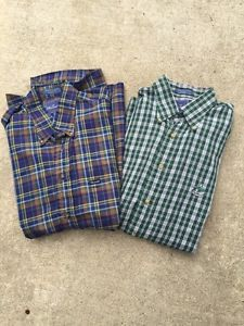 Mens Faconnable Lot of 2 Cotton Button Down Plaid Shirts Size L | eBay