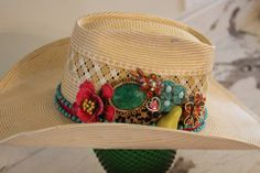 "The Rowdy Rose embellished ""Mai Tai"" this UNIQUE Vintage Embellished Hat. A one of a KIND! 6 3/4 long oval. To Benefit the Megan Danielle Memorial Fund.  cowboy hat, cowgirl hat, western, rodeo, cowgirl, cowboy, costume cowboy hat, costume cowgirl hat"