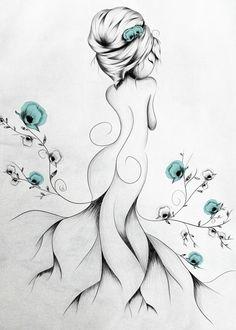 loujah art illustration draw drawing doodle boho bohochic bohostyle bohemian flower poppy poppies cute girl women poetic grey turquoise