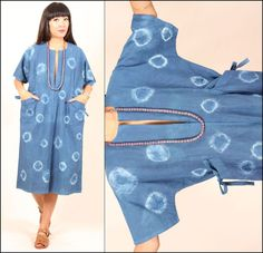 vtg 80s indigo blue TIE-DYE CIRCLES avant garde COTTON kimono pocket midi dress