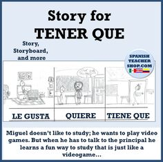 Miguel doesn't like to study; he wants to play video games. But when he has to talk to the principal he learns a fun way to study that is just like a videogame… Fun story for teaching structures GUSTAR, QUERER, TENER QUE