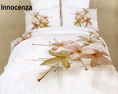 Innocenza by Dolce Mela, Duvet Cover Set, Bed in a Bag King Size in Dolce Mela Gift Box-Innocenza is light and fresh, an excellent choice for a luscious bedroom decor. The vivid prints of hosta flowers against the pure white background with abst King Duvet Cover Sets, Duvet Sets, Duvet Covers, Bed Sets, Bed Ensemble, Ikea, Shabby, Cheap Bed Sheets, Floral Bedding