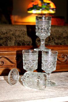 Set/4 Vintage Anchor Hocking WEXFORD Cordials Liquor GOBLETS Diamond MULTIPLES