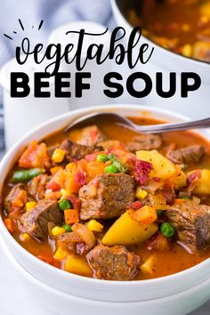 This easy vegetable beef soup is a cozy, hearty recipe that's made with frozen vegetables to save time. It also uses a little bacon for added flavor and crunch! It's ideal as dinner or meal prep for the week. Vegetable Beef Soup is a simple one pot dinner idea that uses tender stew beef, yellow potatoes, mixed vegetables (corn, peas, carrots) & more. We love this as a fall or winter dinner! This recipe is naturally gluten free and dairy free. Chowder Recipes, Healthy Soup Recipes, Easy Chicken Recipes, Lamb Recipes, Salad Recipes, Easy Vegetable Beef Soup, Beef Steak Recipes, Slow Cooker Soup, Dinner Recipes