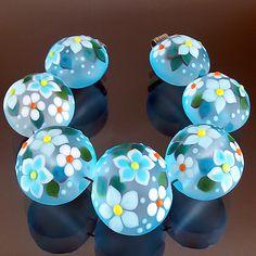PIKALDA=handmade lampwork 7 beads glass=LIGHT SKY=SRA