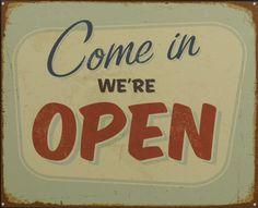 METALEN BORDEN : Come In Were Open M metalen bord