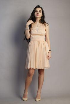 Light Pink Cocktail Dress Crêpe 100% silk, tulle 100% silk, light satin as lining 100% silk.