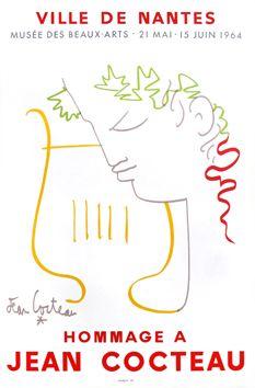 Hommage à Jean Cocteau 1964 Affiche en couleurs, pour la Ville de Nantes, imprimée en lithographie par Mourlot.