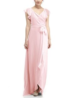 DescriptionJoanna August Dorian Long Full length bridesmaid dressWrap dress with flutter sleevesSkirt rounds up in front to create high-low hemlineChiffon Light Pink Bridesmaid Dresses, Designer Bridesmaid Dresses, Bridesmaid Dresses Online, Wedding Dresses, Joanna August, Bridal Gowns, Cold Shoulder Dress, Wrap Style, Pale Pink