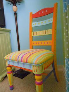 Handpainted FUN Chair. $295.00, via Etsy.