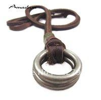Pl034 / leather colares alta qualidade homens punk colar moda jóias 100% couro genuíno jóias artesanais