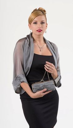 Gorgeous Silver Grey sheer bolero jacket, with a loose fitting silhouette is made of finest silk iridescent chiffon. It has luxurious details such as wide soft folds attached to the boleros edges. The long sheer sleeves are adorned with lovely silk r Silk Chiffon, Mom Dress, Bolero Jacket, Scarf Styles, Evening Dresses, Pants For Women, Fashion Dresses, Womens Fashion, Classy Outfits