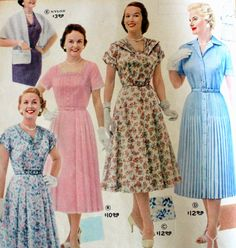 1950s plus size dresses in spring floral and classic shirtwaist designs. See more at VintageDancer.com/1950s