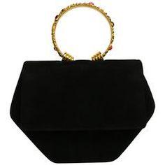 Rod0 Black Suede Gold Toned Handle Octagon Handbag with Strap