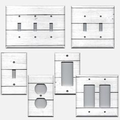 White Washed Shiplap Board Farmhouse Light Switch Covers /& Outlet Plate Covers