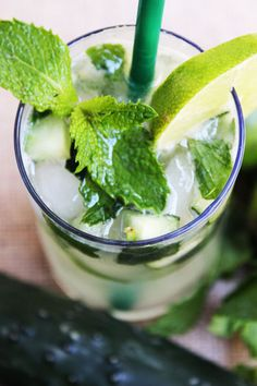 Cucumber mojito with vodka