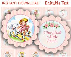 Mary had a Little Lamb Cupcake Toppers #2 retro party printables with editable text PDF - INSTANT DOWNLOAD birthday or baby shower - party 2