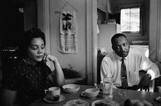 """In this photograph, Coretta is upset with her husband, who had been attacked the night before by a disturbed white racist but had not defended himself. Though the police urged King to press charges, he refused. """"The system we live under creates people such as this youth,"""" he said. """"I'm not interested in pressing charges. I'm interested in changing the kind of system that produces such men."""" martin luther king, coretta scott king,"""