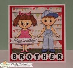 Cindys Scraptastic Designs: Peachy Keen Challenge 13-14 Just Cards Siblings