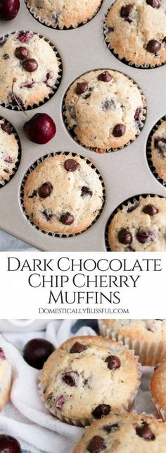 Dark Chocolate Chip Cherry Muffins are a decadent brunch treat that is perfect for breakfast but sweet enough to be dessert! Easter Recipes, Fruit Recipes, Smoothie Recipes, Baking Recipes, Bread Recipes, Dessert Recipes, Desserts, Muffin Recipes, Dessert Ideas