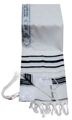 Acrylic Tallit imitation Wool Prayer Shawl in Black andSilver Size 18 L X 72 W * Want additional info? Click on the image.