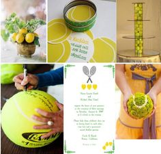 Flower pomander to look like tennis balls, clear vases filled with tennis balls and stacked to make serving trays