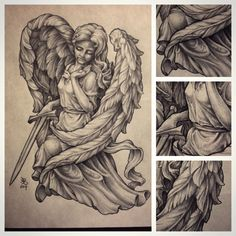 pencil drawings of angels and demons Chicano Tattoos Sleeve, Half Sleeve Tattoos Drawings, Tattoo Design Drawings, Body Art Tattoos, Tattoo Designs, Angel Sketch, Angel Drawing, Graffiti Tattoo, Tattoo Oma