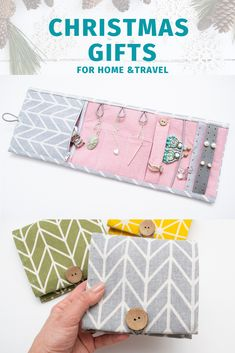 Travel Jewelry Holder Gray Pink Organizer jewelry roll MINI holder for jewelry travel Case for jewel - This organizer is convenient for storing jewelry at home, for travel, it fits in a suitcase and in - Small Sewing Projects, Sewing Projects For Beginners, Sewing Hacks, Sewing Tutorials, Sewing Patterns, Jewelry Roll, Jewelry Holder, Necklace Holder, Diy Jewelry